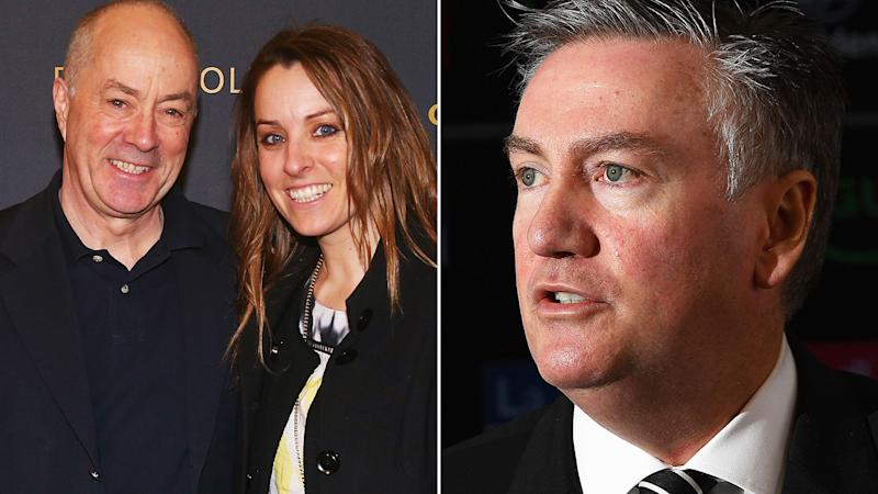 Tim Lane is pictured with daughter Samantha in a 50/50 split image next to Eddie McGuire.