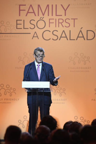 CORRECTS SLOVAKIAN TO CZECH PRIME MINISTER -- Czech Prime Minister Andrej Babis delivers a speech during the 3rd Budapest Demographic Summit in Varkert Bazar conference center in Budapest, Hungary, Thursday, Sept. 5, 2019. The Hungarian capital city, which hosts the international summit for the third time after 2015 and 2017, welcomes politicians, scientists, church dignitaries and public personalities to give presentations and exchange their experiences on current population trends. (Szilard Koszticsak/MTI via AP)