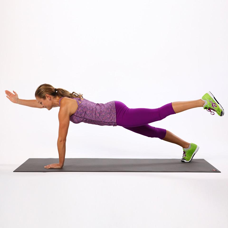<ul> <li>Start in a plank position. Cheat your right leg toward your center line, and lift your left leg off the ground so your heel is even with your pelvis. </li> <li>Keeping your torso steady, reach your right arm forward. Really brace through the abs by pulling your navel to your spine.</li>   <li>Hold this position for up to 10 seconds before returning to plank position. This completes one rep. Be sure to perform on both sides of the body.</li>  </ul>