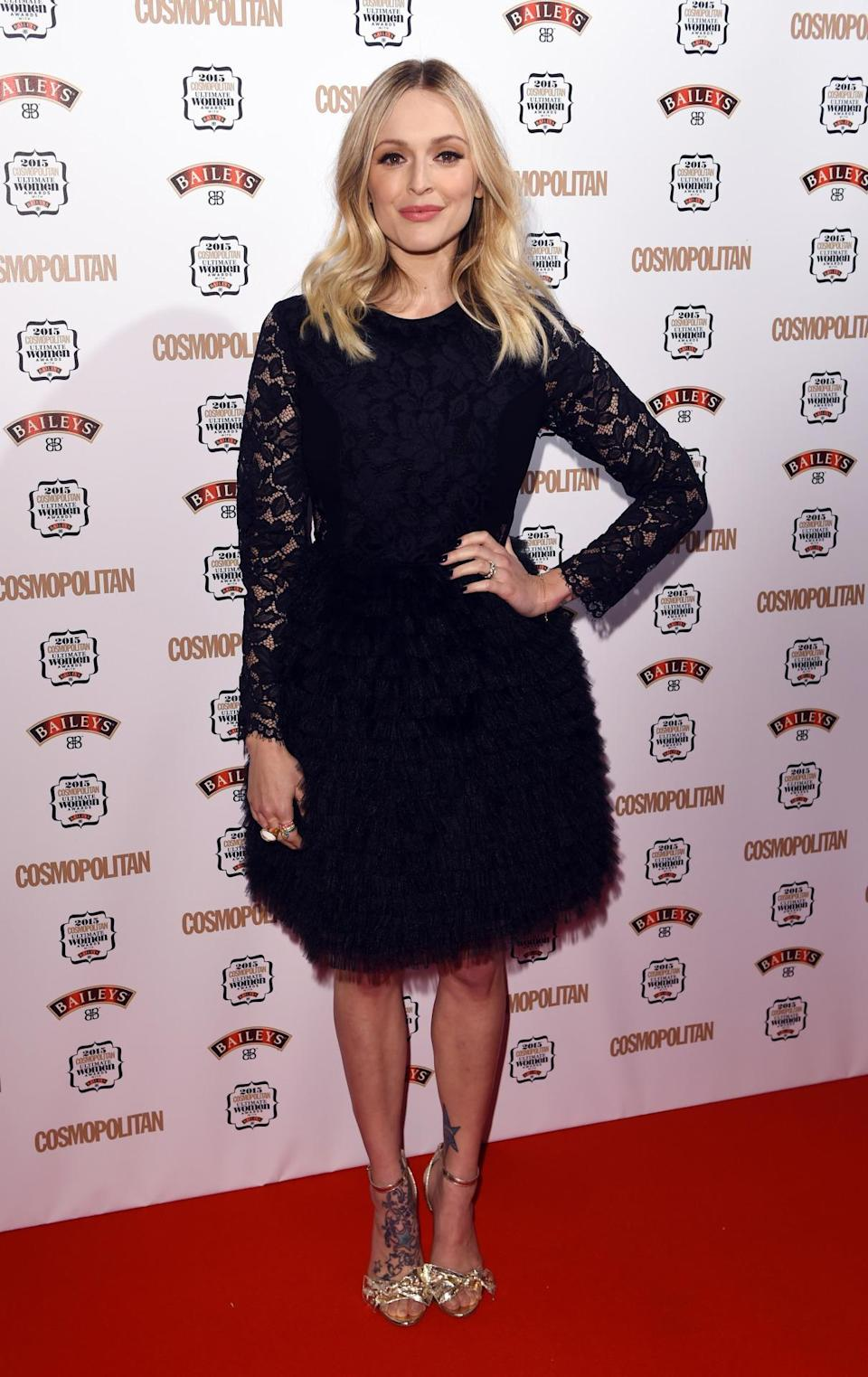 Fearne Cotton was another celeb to don a lace LBD. [Photo: Rex]