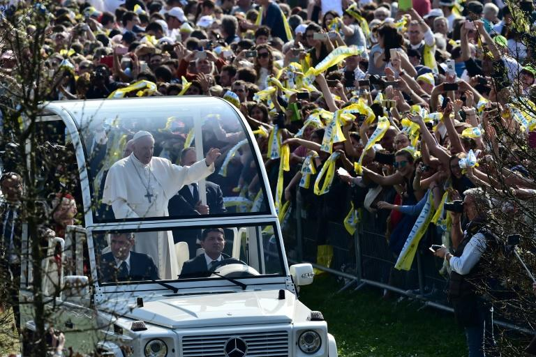 Pope Francis arriving to celebrate mass before one million people at a park in Monza, Italy