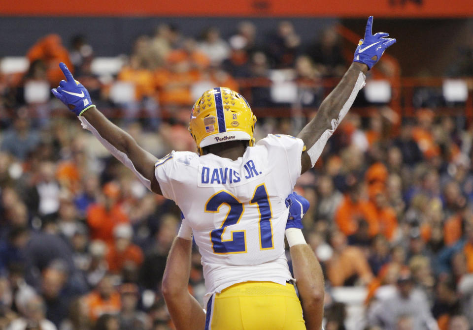 Pittsburgh's A.J. Davis celebrates after scoring a touchdown during the second quarter of the team's NCAA college football game against Syracuse in Syracuse, N.Y., Friday, Oct. 18, 2019. (AP Photo/Nick Lisi)