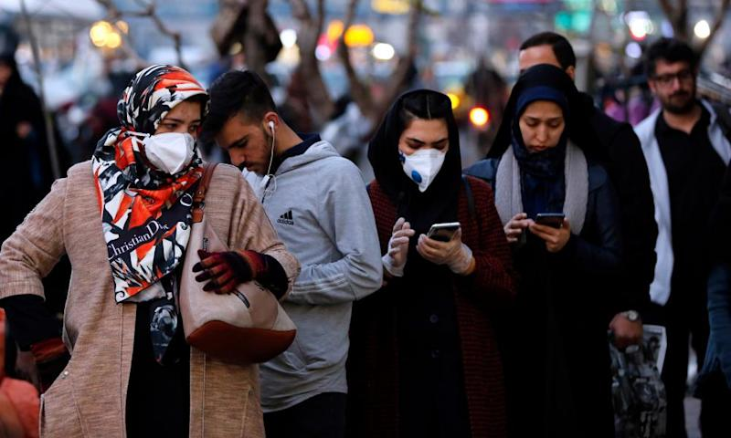 Iranians wearing face masks in Tehran