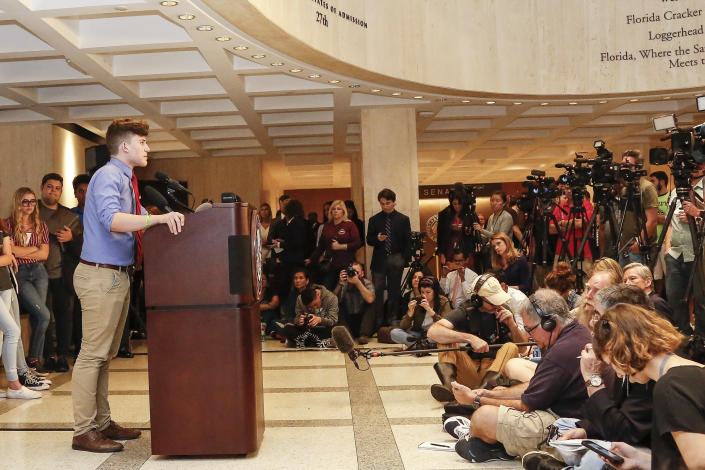 <p>Kevin Trejos, a student from Marjory Stoneman Douglas High School, speaks at the Florida state Capitol building on Feb. 21, 2018 in Tallahassee, Fla. (Photo: Don Juan Moore/Getty Images) </p>
