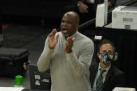 Atlanta Hawks head coach Nate McMillan reacts during the second half of Game 1 of the NBA Eastern Conference basketball finals game against the Milwaukee Bucks Wednesday, June 23, 2021, in Milwaukee. (AP Photo/Morry Gash)