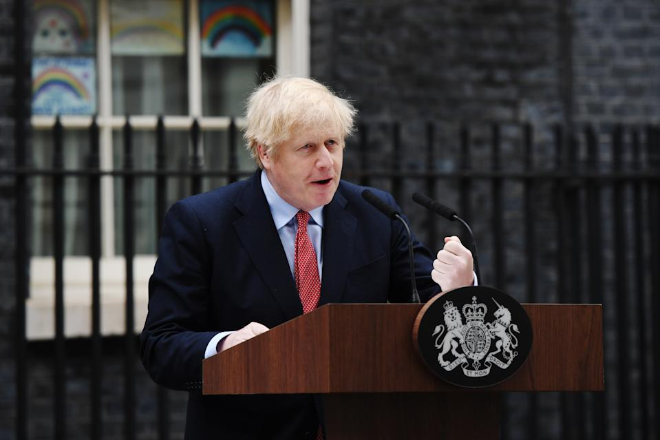 LONDON, ENGLAND - APRIL 27: Prime Minister Boris Johnson speaks in Downing Street as he returns to work following his recovery from Covid-19 on April 27, 2020 in London, England. The Prime Minister said the country needed to continue its lockdown measures to avoid a second spike in infections. (Photo by Chris J Ratcliffe/Getty Images)
