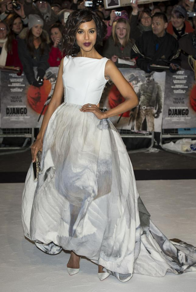 LONDON, ENGLAND - JANUARY 10:  Kerry Washington attends the UK premiere of 'Django Unchained' at Empire Leicester Square on January 10, 2013 in London, England.  (Photo by Mark Cuthbert/UK Press via Getty Images)