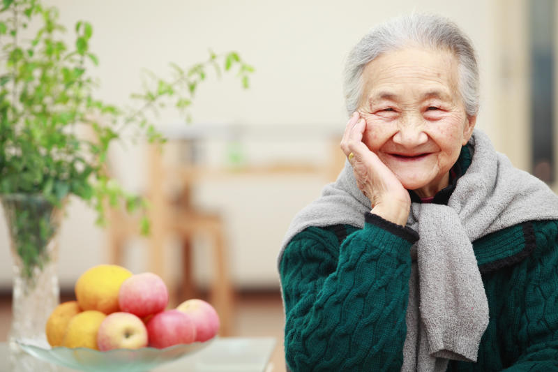 picture of happy senior asian woman in home