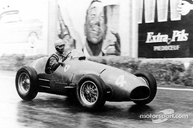 "Alberto Ascari in the Ferrari 500 F2 <span class=""copyright"">Ferrari Media Center</span>"