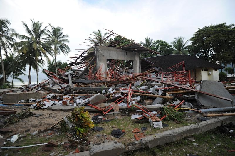 The volcano-triggered tsunami in Indonesia destroyed hundreds of buildings as it slammed into beaches around the Sunda Strait
