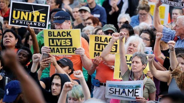 PHOTO: People protest in support of Philando Castile on the capitol steps after a jury found St. Anthony Police Department officer Jeronimo Yanez not guilty of second-degree manslaughter in the death of Castile, in St. Paul, Minn., June 16, 2017. (Eric Miller/Reuters)