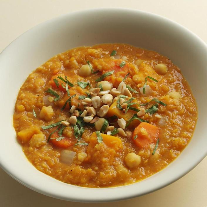 <p>Modeled on North African stews, this aromatic vegetarian main course can be served over brown rice or steamed spinach.</p>