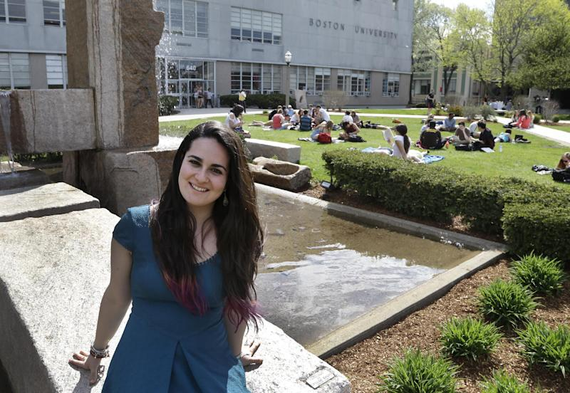 This Thursday, May 2, 2013 photo shows Allison Guarino, 19, a freshman at Boston University, posing on campus in Boston. New rules permitting 15-year-olds to get the morning-after pill without a prescription are being debated by teens as well as adults, with some saying it will help kids who can't confide in an adult, while others say the lower age infringes on a parent's right to know what's going on. Guarino, a political science and public health major, teaches pregnancy prevention to ninth-graders in Boston public schools and says she encounters a lot of ignorance among the kids she works with. (AP Photo/Elise Amendola)