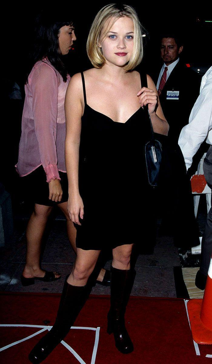<p>If we could personify the '90s in one dress, Reese Witherspoon's spaghetti strap black mini dress for the <em>House of Yes </em>premiere would be it.  </p>