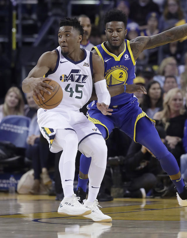 Utah Jazz guard Donovan Mitchell (45) had a breakout year as a rookie. (AP Photo/Jeff Chiu)