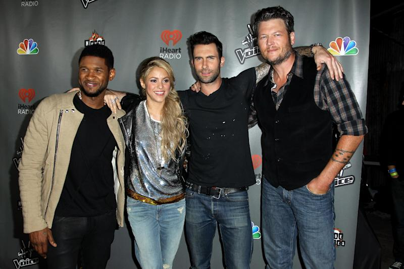 "From left, Usher, Shakira, Adam Levine, and Blake Shelton arrive at ""The Voice"" season 4 red carpet event at the House of Blues on Wednesday, May 8, 2013 in Los Angeles. (Photo by Matt Sayles/Invision/AP)"