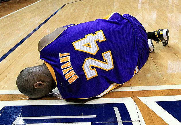 1fa935ad7f2d Kobe Bryant out indefinitely after suffering severe left ankle sprain in  Lakers loss to Hawks (VIDEO)