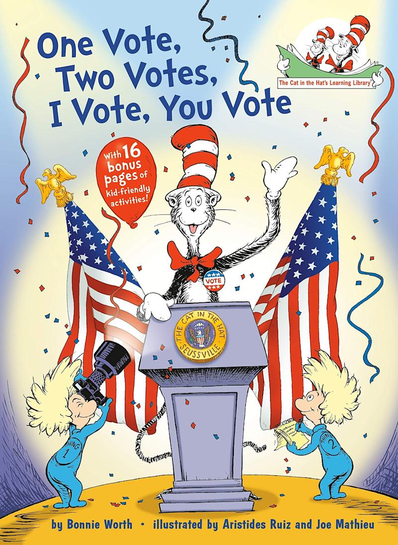 """This """"Cat in the Hat's Learning Library"""" book teaches kids about elections and includes voting-related activities.<i> (Available <a href=""""https://www.amazon.com/Vote-Votes-Hats-Learning-Library/dp/0399555986"""" target=""""_blank"""" rel=""""noopener noreferrer"""">here</a>)</i>"""