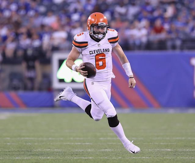 "The Cleveland Browns said they are ""not going to change"" their minds about starting <a class=""link rapid-noclick-resp"" href=""/nfl/players/24967/"" data-ylk=""slk:Tyrod Taylor"">Tyrod Taylor</a> over <a class=""link rapid-noclick-resp"" href=""/nfl/players/30971/"" data-ylk=""slk:Baker Mayfield"">Baker Mayfield</a> at quarterback this season. (Getty Images)"