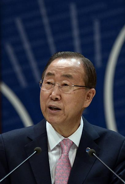 United Nations General Secretary Ban Ki-moon adresses the Parliamentary Assembly of the Council of Europe in Strasbourg, eastern France, on June 23, 2015 (AFP Photo/Frederick Florin)
