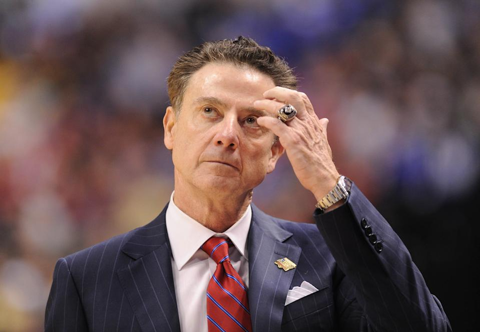 Rick Pitino reacts to a call during a game against the Michigan Wolverines at the 2017 NCAA tournament. (USA Today)