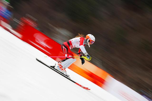 Alpine Skiing - Pyeongchang 2018 Winter Paralympics - Women's Slalom - Standing - Run 2 - Jeongseon Alpine Centre - Jeongseon, South Korea - March 18, 2018 - Mollie Jepsen of Canada. REUTERS/Paul Hanna