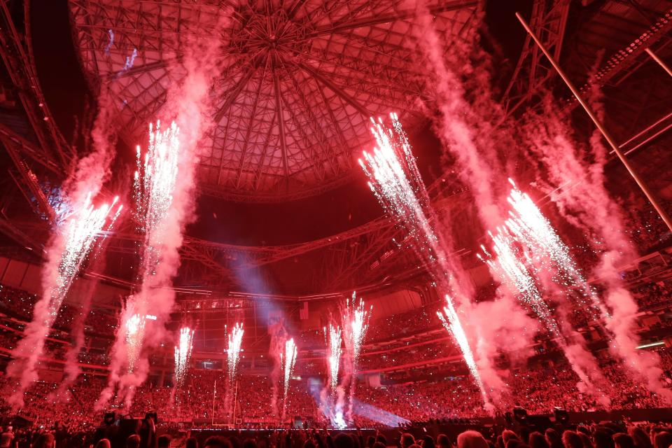 <p>Fireworks go off during halftime of the NFL Super Bowl 53 football game between the Los Angeles Rams and the New England Patriots Sunday, Feb. 3, 2019, in Atlanta. (AP Photo/Frank Franklin II) </p>
