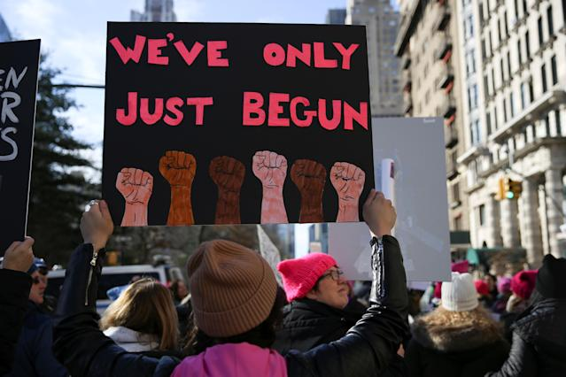 <p>Demonstrators take part in the Women's March in Manhattan in New York City, Jan. 20, 2018. (Photo: Caitlin Ochs /Reuters) </p>