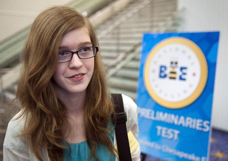 "Scripps National Spelling Bee contestant Mary Elizabeth Horton, 12, of West Melbourne, Fla, speaks with a reporter following her completion of the Preliminaries Test in Oxon Hill, Md., Tuesday, May 28, 2013. Horton said of the addition of a vocabulary section to the test, ""I think everybody wasn't expecting it … it definitely changes everything."" Spellers arrived Tuesday morning to take a 45-minute computer test that probes their knowledge of both spelling and vocabulary. The results will be combined with Wednesday's on-stage round to determine which spellers will advance to the semifinals Thursday. (AP Photo/Cliff Owen)"