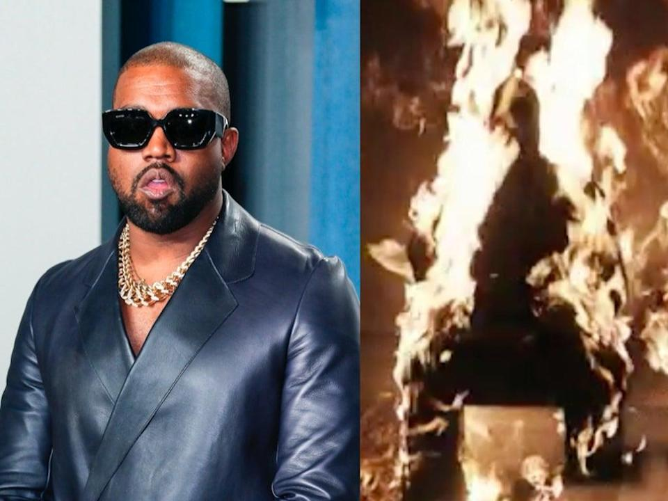 Kanye West (pictured left at the Vanity Fair Oscar Party in 2020) set himself on fire during an event for his forthcoming album 'Donda' (right) (Left: JEAN-BAPTISTE LACROIX/AFP via Getty Images – Right: Apple Music)