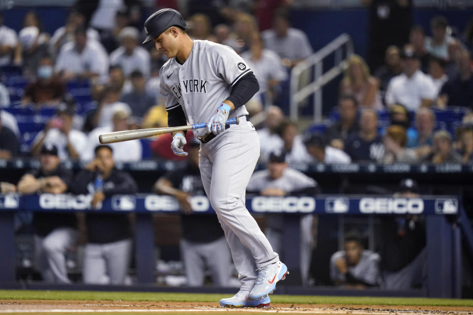 New York Yankees' Anthony Rizzo draws a walk during the first inning of the team's baseball game against the Miami Marlins, Friday, July 30, 2021, in Miami. (AP Photo/Lynne Sladky)