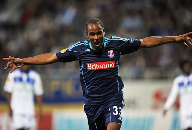Cameron Jerome of Stoke City FC celebrates after scoring against FC Dynamo Kiev during UEFA Europa League, Group E football match in Kiev on September 15, 2011. AFP PHOTO/ SERGEI SUPINSKY (Photo credit should read SERGEI SUPINSKU/AFP/Getty Images)