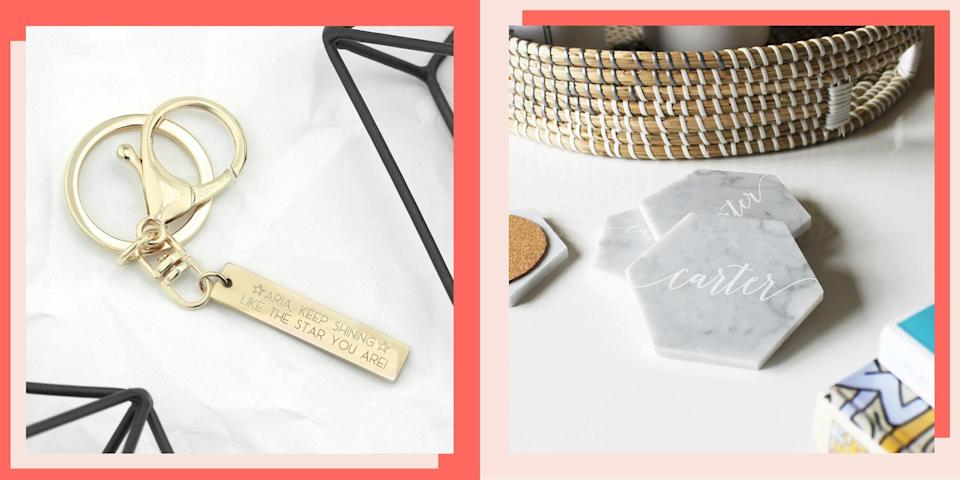 """<p>Personalizing a gift makes it so much more meaningful, and luckily, you can engrave practically anything these days. We rounded up several engraved <a href=""""https://www.bestproducts.com/gift-ideas-for-every-occassion/"""" rel=""""nofollow noopener"""" target=""""_blank"""" data-ylk=""""slk:gifts that are perfect for anyone"""" class=""""link rapid-noclick-resp"""">gifts that are perfect for anyone</a>, from cutting boards to personalized whiskey barrels to stylish wearable accessories. Whether you're shopping for someone who is <a href=""""https://www.bestproducts.com/fashion/g36015468/wedding-guest-dresses-on-amazon/"""" rel=""""nofollow noopener"""" target=""""_blank"""" data-ylk=""""slk:getting married"""" class=""""link rapid-noclick-resp"""">getting married</a>, a <a href=""""https://www.bestproducts.com/lifestyle/g1499/best-high-school-graduation-gifts-ideas/"""" rel=""""nofollow noopener"""" target=""""_blank"""" data-ylk=""""slk:recent graduate"""" class=""""link rapid-noclick-resp"""">recent graduate</a>, or just getting something special for <a href=""""https://www.bestproducts.com/lifestyle/a27091772/one-year-anniversary-gifts/"""" rel=""""nofollow noopener"""" target=""""_blank"""" data-ylk=""""slk:your special someone,"""" class=""""link rapid-noclick-resp"""">your special someone,</a> we've got you covered.</p><p>There's always the classic option of monogramming a beautiful piece of jewelry, or you could take it to the next level by gifting them something adorned with their birth-month flower or a loved one's fingerprints. Thanks to technology and creative makers out there, you can get just about anything, from names, dates, symbols, and designs, engraved on a piece of jewelry or beautiful glassware. The hardest part is picking what to engrave and where to engrave it! Here are 30 of our favorite engravable products we rounded up to inspire some ideas for you.</p>"""