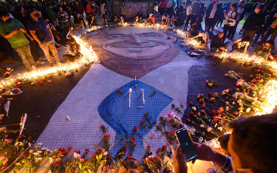 Tributes to former President of Argentina Nestor Kirchner are laid in Buenos Aires, on the tenth anniversary of his death - Getty
