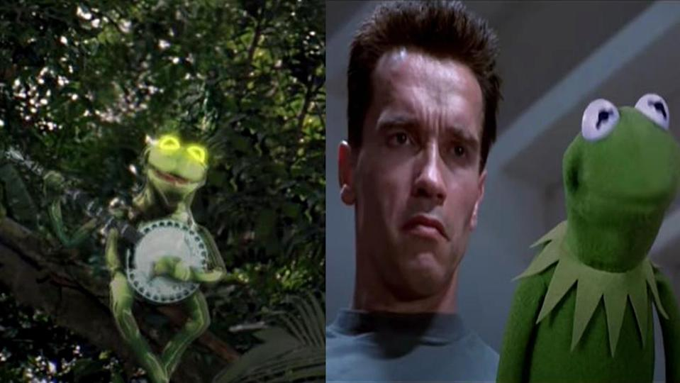 Kermit the Frog pops up in Predator and T2 in a hilarious mash-up.