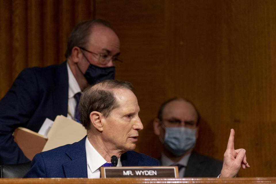 Ranking Member Ron Wyden, D-OR speaks during a hearing for Janet Yellen, President-elect Joe Bidens nominee for Secretary of the Treasury,as she participates in a Senate Finance Committee hearing in Washington DC, on January 19, 2021. - Biden, who will take office on January 20, 2021, has proposed a $1.9 trillion rescue package to help businesses and families struggling amid the pandemic, and Yellen would be tasked with getting that massive bill through a Congress where some are wary of the skyrocketing budget deficit. (Photo by Andrew Harnik / POOL / AFP) (Photo by ANDREW HARNIK/POOL/AFP via Getty Images)