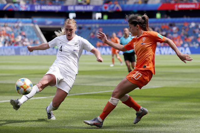 Danielle Van De Donk of the Netherlands is challenged by Catherine Bott of New Zealand during the 2019 FIFA Women's World Cup France group E match between New Zealand and Netherlands at on June 11, 2019 in Le Havre, France. (Photo by Alex Grimm/Getty Images)