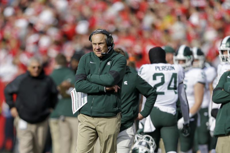 Michigan State head coach Mark Dantonio during the first half of an NCAA college football game against Wisconsin Saturday, Oct. 12, 2019, in Madison, Wis. (AP Photo/Andy Manis)