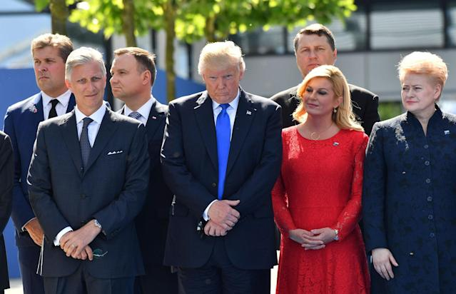 <p>Belgian King Philippe, U.S. President Donald Trump, Croatian President Kalinda Grabar-Kitarovic, and Lithuanian President Dalia Grybauskaite, from left, NATO headquarters at the NATO summit in Brussels on Thursday, May 25, 2017. US President Donald Trump and other NATO heads of state and government on Thursday will inaugurate the new headquarters as well as participating in an official working dinner. (AP Photo/Geert Vanden Wijngaert) </p>