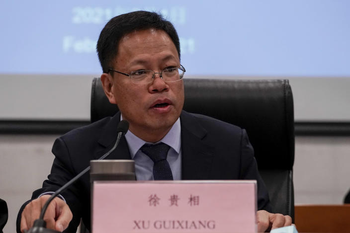 """Xu Guixiang, a spokesperson for Xinjiang's Communist Party speaks during a press conference related to Xinjiang issues at the Ministry of Foreign Affairs office in Beijing, Monday, Feb. 1, 2021. Xu accused former U.S. Secretary of State Mike Pompeo on Monday of trying to undermine Beijing's relations with President Joe Biden by declaring China's actions against the Uighur ethnic group a """"genocide."""" (AP Photo/Andy Wong)"""
