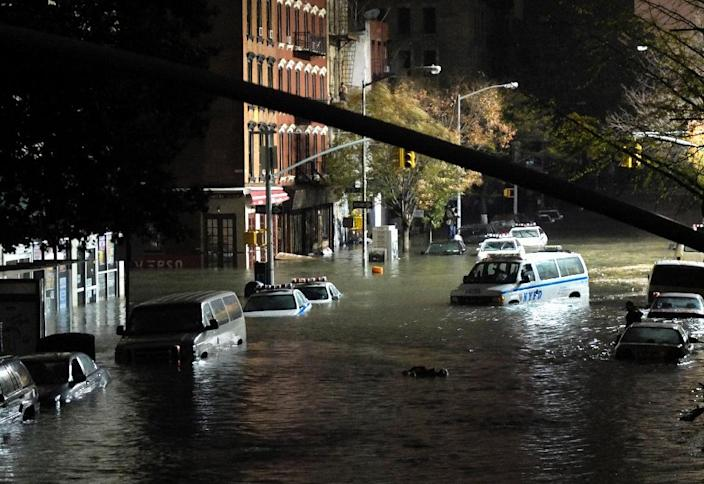 Submerged cars are seen in Manhattan, New York, after severe flooding caused by Hurricane Sandy, in October 2012 (AFP Photo/Christos Pathiakis)