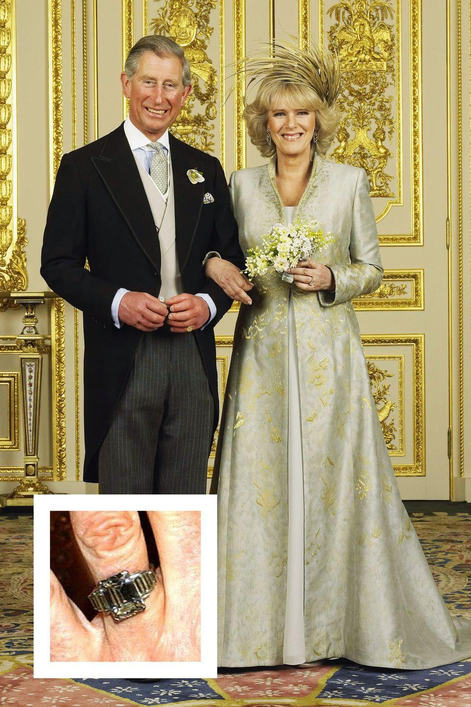 """<p><a href=""""https://www.townandcountrymag.com/society/a9961113/prince-charles-camilla-parker-bowles-relationship/"""" rel=""""nofollow noopener"""" target=""""_blank"""" data-ylk=""""slk:Prince Charles and Camilla announced"""" class=""""link rapid-noclick-resp"""">Prince Charles and Camilla announced</a> their engagement in February 2005. Charles proposed with a ring that once belonged to his grandmother, the Queen Mother. The emerald-cut center stone is surrounded by six diamond baguettes and was designed in the 1920s, <a href=""""https://us.hellomagazine.com/royalty/2015021023346/duchess-cornwall-engagement-ring-comparison/"""" rel=""""nofollow noopener"""" target=""""_blank"""" data-ylk=""""slk:according to Hello! Magazine."""" class=""""link rapid-noclick-resp"""">according to <em>Hello!</em> Magazine.</a></p>"""