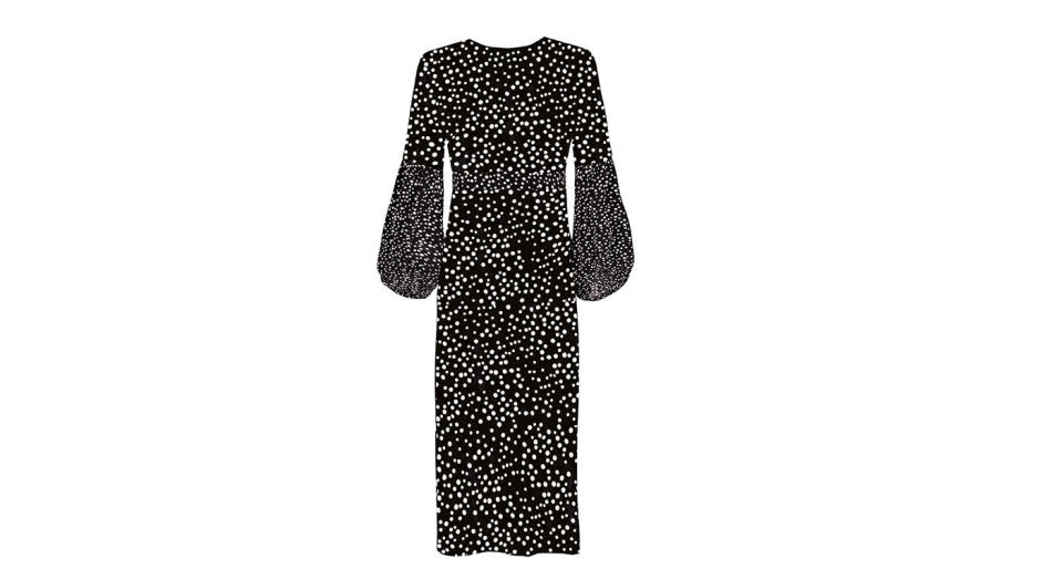 """<p>RIXO London is another cool-girl label that needs to be on your fashion radar. Perfect for wearing from day to night, there's a style for almost every woman out there – but this balloon-sleeved, polka dot version is our current favourite. <a rel=""""nofollow noopener"""" href=""""https://www.rixo.co.uk/"""" target=""""_blank"""" data-ylk=""""slk:Buy here."""" class=""""link rapid-noclick-resp""""><em>Buy here.</em></a> </p>"""