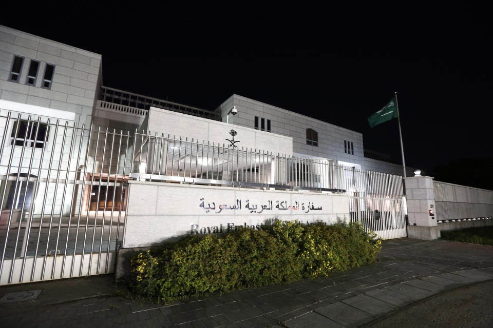 """The Saudi Arabian Embassy is shown in Ottawa, Canada, on Sunday, Aug. 5, 2018. Saudi Arabia has ordered Canadian Ambassador Dennis Horak to leave the ultraconservative kingdom within 24 hours after his nation criticized the recent arrests of women's rights activists. The Saudi Foreign Ministry also said it would freeze """"all new business"""" between the kingdom and Canada. (David Kawai/The Canadian Press via AP)"""