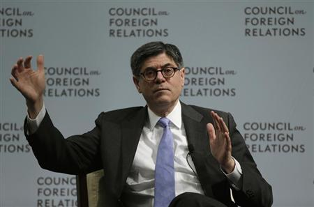 United States Secretary of Treasury Lew gestures during discussion with Bussey at Council of Foreign Relations in Washington