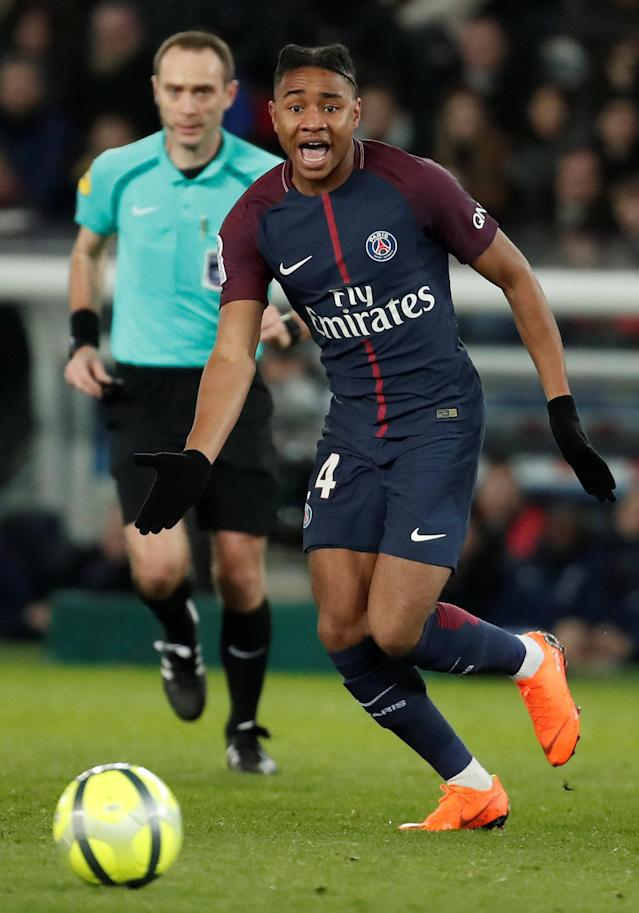 Soccer Football - Ligue 1 - Paris St Germain vs RC Strasbourg - Parc des Princes, Paris, France - February 17, 2018 Paris Saint-Germain's Christopher Nkunku in action REUTERS/Benoit Tessier