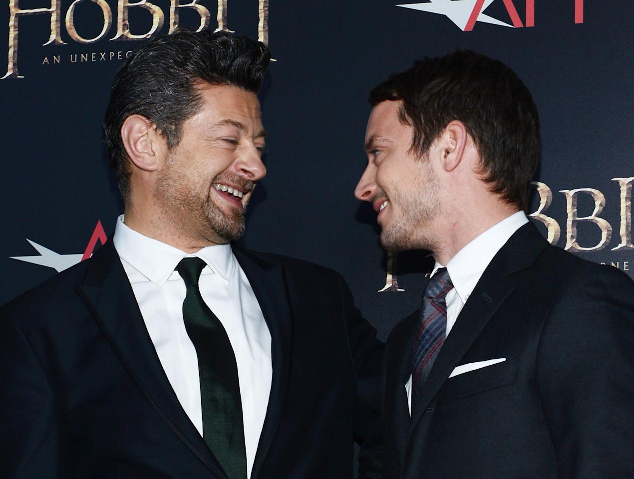 "NEW YORK, NY - DECEMBER 06:  Andy Serkis (L) and Elijah Wood attend ""The Hobbit: An Unexpected Journey"" New York premiere benefiting AFI at Ziegfeld Theater on December 6, 2012 in New York City.  (Photo by Andrew H. Walker/Getty Images)"