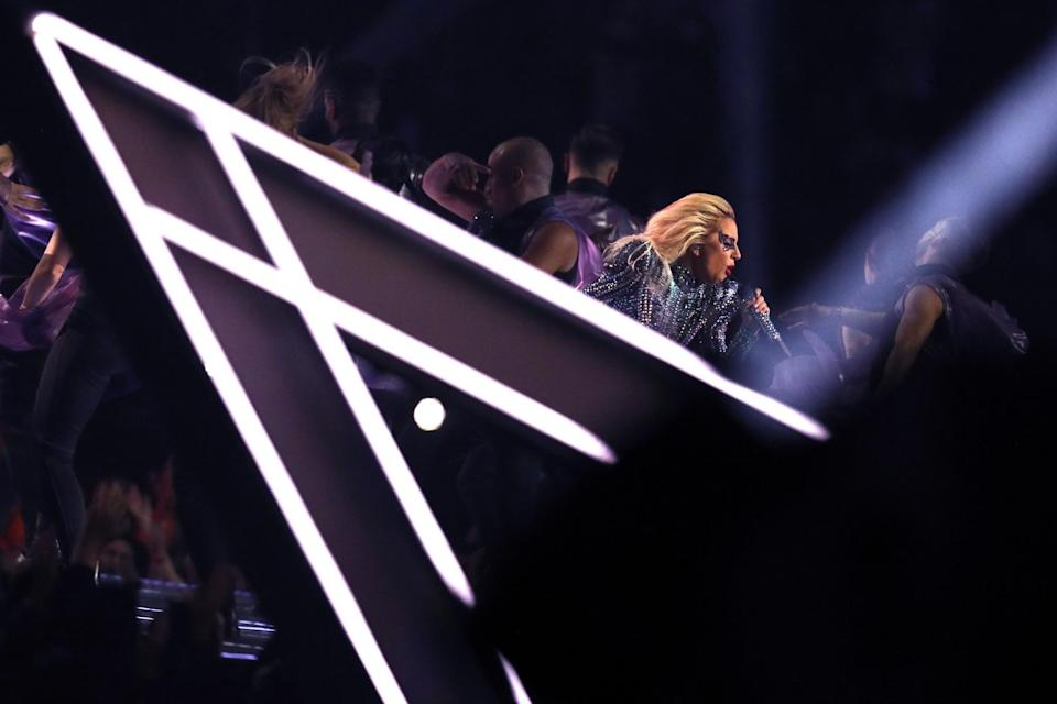 <p>Lady Gaga performs during the Pepsi Zero Sugar Super Bowl 51 Halftime Show at NRG Stadium on February 5, 2017 in Houston, Texas. (Photo by Patrick Smith/Getty Images) </p>