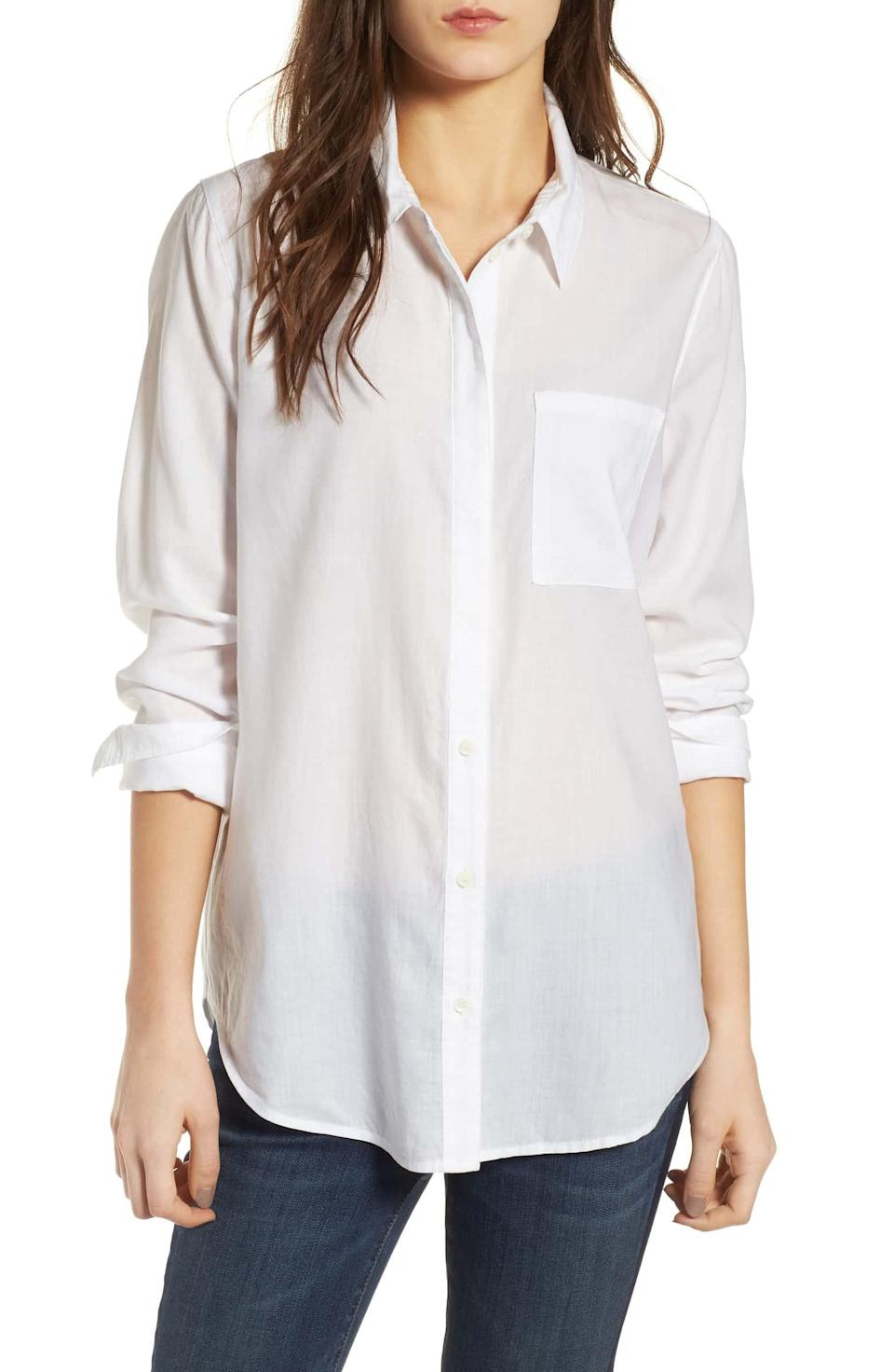 """<h2>Treasure & Bond Drapey Classic Shirt</h2><br><strong>The Best Drapey White Button-Down</strong><br>One of the cooler ways to wear your white button-down is with the slightest hint of it not actually belonging to you. While this is descended from a heteronormative trope that we have most certainly evolved beyond, there remains an air of insouciance in sporting a dress shirt that's ever-so-slightly oversized. We think that's why Treasure & Bond's <a href=""""https://shop.nordstrom.com/s/treasure-bond-drapey-classic-shirt/4403110?origin=keywordsearch-personalizedsort&breadcrumb=Home%2FAll%20Results&color=white"""" rel=""""nofollow noopener"""" target=""""_blank"""" data-ylk=""""slk:Drapey Classic Shirt"""" class=""""link rapid-noclick-resp"""">Drapey Classic Shirt</a> has such a rabid fanbase.<br><br><strong>The Hype: </strong>4 out of 5 stars, 128 reviews on Nordstrom<br><br><strong>What They're Saying: </strong>""""So beautiful. I've been working hard on making my capsule/classic wardrobe. I have a shopping list that stays in my purse so that I can find the perfect piece that will last for years. This shirt is so divine. It feels incredible against my skin. The drapey aspect of the shirt flatters my bigger chest and apple body. It's a little sheer, but I sized up so that it flows. I may wear a shirt underneath but I may not."""" <br><br><strong>Treasure & Bond</strong> Drapey Classic Shirt, $, available at <a href=""""https://go.skimresources.com/?id=30283X879131&url=https%3A%2F%2Fshop.nordstrom.com%2Fs%2Ftreasure-bond-drapey-classic-shirt%2F4403110%3Forigin%3Dkeywordsearch-personalizedsort%26breadcrumb%3DHome%252FAll%2520Results%26color%3Dwhite"""" rel=""""nofollow noopener"""" target=""""_blank"""" data-ylk=""""slk:Nordstrom"""" class=""""link rapid-noclick-resp"""">Nordstrom</a>"""