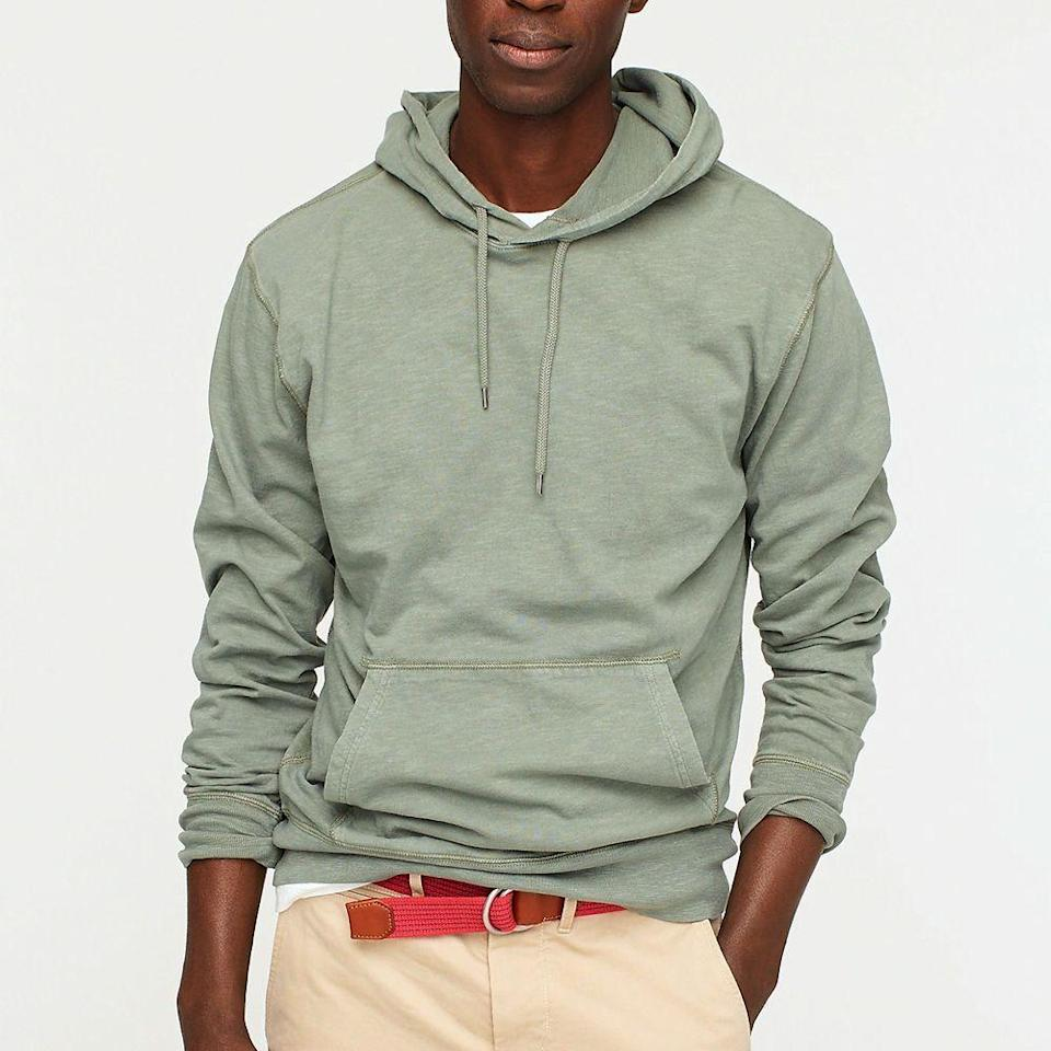 """<p><strong>J.Crew</strong></p><p>jcrew.com</p><p><strong>$59.50</strong></p><p><a href=""""https://go.redirectingat.com?id=74968X1596630&url=https%3A%2F%2Fwww.jcrew.com%2Fp%2FAK980&sref=https%3A%2F%2Fwww.goodhousekeeping.com%2Fholidays%2Ffathers-day%2Fg19831972%2Ffathers-day-gifts-from-daughter%2F"""" rel=""""nofollow noopener"""" target=""""_blank"""" data-ylk=""""slk:Shop Now"""" class=""""link rapid-noclick-resp"""">Shop Now</a></p><p>Even the guy who doesn't dress to impress will love sporting this cotton hoodie. Less bulky than his winter sweatshirts, this lightweight option is perfect for chilled summer nights, thanks to its breathable, T-shirt material. </p>"""